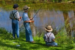 Amish Boys Fishing, Lancaster County, Pennsylvania, USA