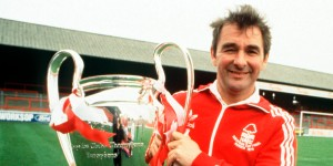 Sport. Football. England. 1980. Nottingham Forest manager Brian Clough with the European Cup trophy.