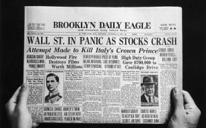 Wall Street Crash...The front page of the Brooklyn Daily Eagle newspaper with the headline 'Wall St. In Panic As Stocks Crash', published on the day of the initial Wall Street Crash of 'Black Thursday', 24th October 1929. (Photo by FPG/Hulton Archive/Getty Images)