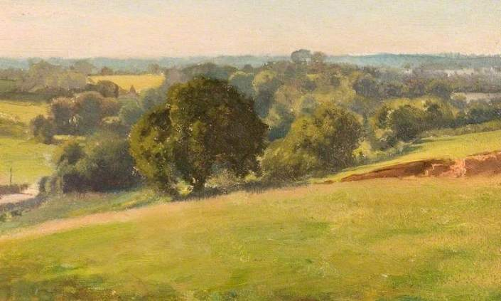 Brown, Edward Archibald, 1866-1935; A Summer Afternoon, the Fields, Bengeo, Hertfordshire