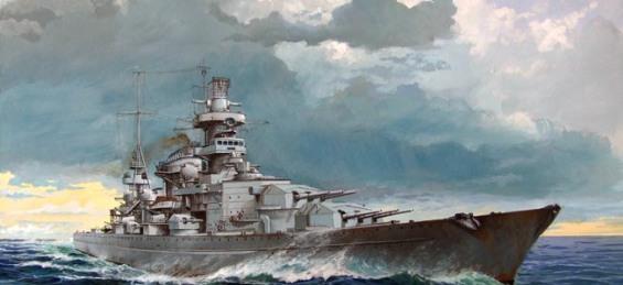 2. Weltkrieg, Seekrieg, Marine Deutschland: Schlachtschiff 'Scharnhorst' auf See. 1943Gemaelde (Gouache) von O. Rahardt 2010