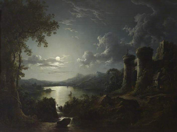 Pether, Sebastian, 1790-1844; Moonlit River Landscape with a Monumental Gateway