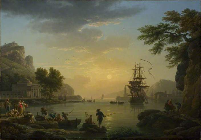 Vernet, Claude-Joseph, 1714-1789; A Landscape at Sunset with Fishermen returning with their Catch